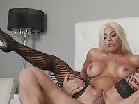 Diva banged hard and waiting for huge dose of sperm for big tits