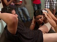 College dorm party with pornstar sluts enjoying big cocks