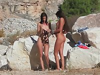 Hot lesbian couple has sizzling sex on the beach