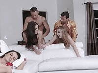 Latina girl and friend fucked by stepdads for the New Year
