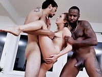 Woman stops tutoring in favor of interracial sex with two studs