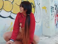 Slut needs no comfort so outdoor fuck is a normal thing for her