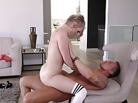 Young pale skinned darling is riding her randy older lover