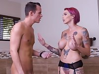 Inked babe's hungry pussy needs married guy's hard cock