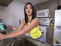 POV oral in the kitchen with busy babe Cristal Caraballo