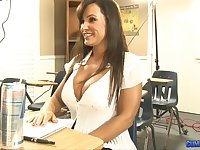 Tantalizing teacher with fake boobs Lisa Ann is fucked by one kinky dude