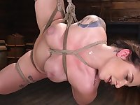 Helpless girl in ropes is being forced to cum many times