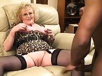Blonde granny GILF interracial fuck