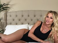 Naughty blonde solo MILF jessica drake enjoys answering questions