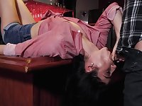 Cowgirl bartender Jasmine Vega is face fucked fucked by one of visitors