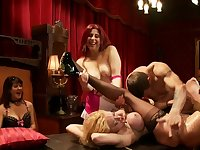 Bound blonds fucked by guest at party