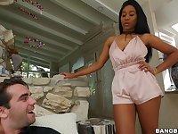 Pretty Ebony pornstar Jenna Foxx drops on her knees for a white dick