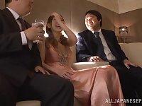 Closeup video of sexy Japanese Erika Kitagawa getting fucked by 2 guys