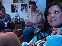 Outdoors MMF threesome with small tits brunette Kaylani Lei