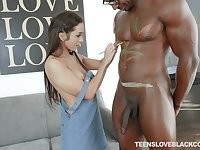 Nerdy art babe Lilly Hall impaled and cum covered by a big black cock