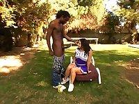 Fine ass cheerleader Victoria in uniform fucked in interracial porn