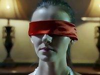 Lesbian with elegant lingerie blindfold tease