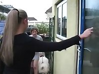 Emma Butt Pee with two girls pissing in front of the door for christmas