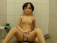 Fake cum bukkake on my doll Karen