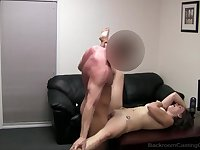 Amateur with huge naturals fucked in her shaved pussy
