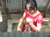 Desi Girl Bathing Outdoor