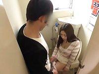 Japanese AV Model nasty milf gets fucked in public toilet
