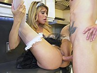 Moist pussy blonde maid