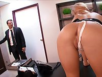Slutty MILF secretary Victoria White fucks her boss and swallows cum