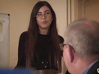 Assistant caught coworker deep throating senior manager under desk