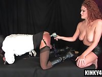 Redhead mistress bondage with money shot
