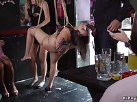 Phat bootie Euro slave in bondage copulated in public