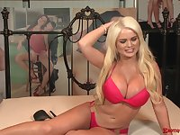 Busty blonde bombshell Alexis Ford rides a stiff shaft