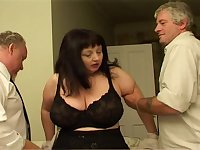 Fat lady has two hard fuckers to chew their pulsating dicks