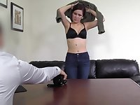 Redhead Rosie being talked into fucking in an office by a stud