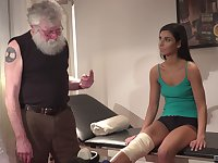 Grey haired old man gets to fuck a sporty teen babe at the office