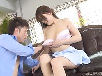 Brunette Japanese teen babe Kashii Ria squirts while getting fucked