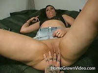 Chubby brunette babe gets a hardcore missionary pussy pounding