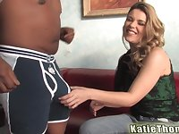 Teen blonde babe Katie Thomas cums while pounded hard by a black guy