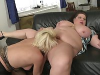 Foursome with Alisah and her fat friends loving his cock