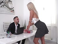 Ukrainian secretary Angelika Grays gets double penetrated in the office