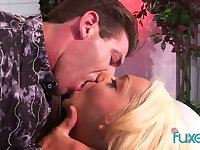 Blond hooker Jessica is face fucked and impaled on a hard big pole