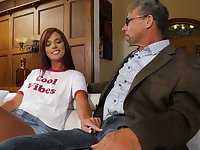 Young cheerleader Scarlett Mae is fucked by horny old stepdad