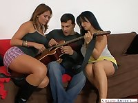 Puerto Rican bitch Mason Storm and her girlfriend fuck handsome guitar player