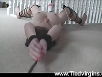 Tina Kay is tied up and dragged around the house with a vibrator