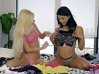 Brazilian babe Gina Valentina is licking tasty pussy in 69 style pose