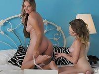 Mature blonde lesbian Allie Eve Knox seduces blonde teen Angel Smalls