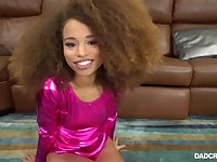 Wonderful sexy frizzy haired ebony babe Cecilia Lion is poked doggy style
