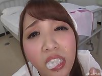Redhead Japanese nurse sucks her patients cock and eats cum