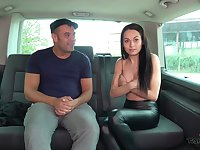Brunette teen Ashley fucked and cum splattered in a car