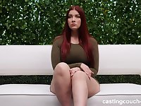 Chubby redhead teen babe Anne pounded by a black guy on the couch